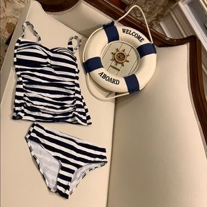 Navy-colored striped tankini